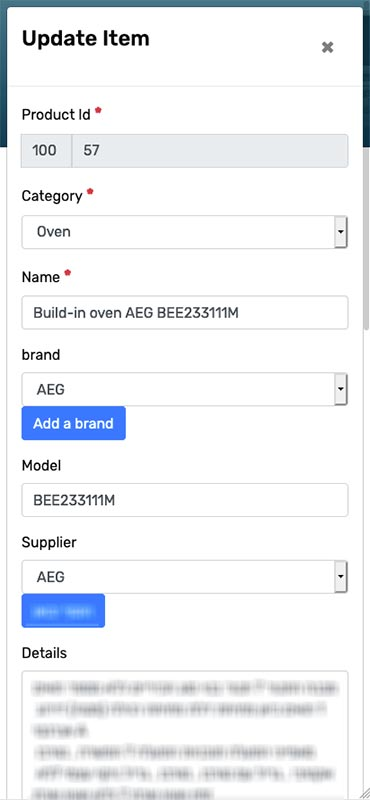 Manage your own catalog and sub-databases like customers, suppliers, brands, etc